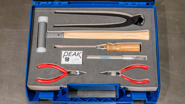 The SR|TEC-Tool-Box guarantees a safe and efficient assembly of Marbach steel rule tools